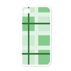 Abstract Green Squares Background Apple Iphone 4 Case (white)