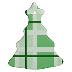 Abstract Green Squares Background Ornament (christmas Tree)