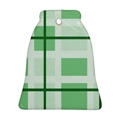 Abstract Green Squares Background Ornament (bell)