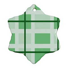 Abstract Green Squares Background Snowflake Ornament (two Sides)