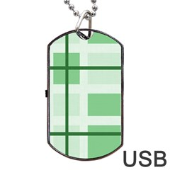 Abstract Green Squares Background Dog Tag Usb Flash (one Side)