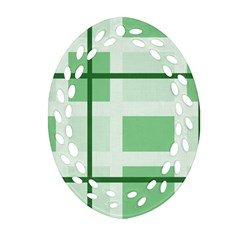 Abstract Green Squares Background Ornament (oval Filigree)