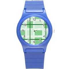 Abstract Green Squares Background Round Plastic Sport Watch (s)