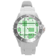 Abstract Green Squares Background Round Plastic Sport Watch (l)