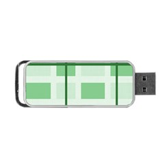 Abstract Green Squares Background Portable Usb Flash (one Side)