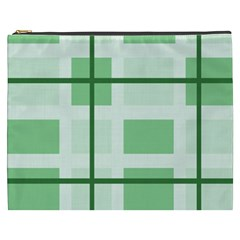 Abstract Green Squares Background Cosmetic Bag (xxxl)