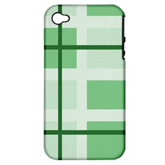 Abstract Green Squares Background Apple Iphone 4/4s Hardshell Case (pc+silicone)