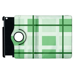 Abstract Green Squares Background Apple Ipad 2 Flip 360 Case