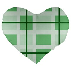 Abstract Green Squares Background Large 19  Premium Heart Shape Cushions