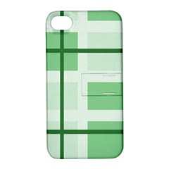Abstract Green Squares Background Apple Iphone 4/4s Hardshell Case With Stand