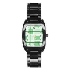 Abstract Green Squares Background Stainless Steel Barrel Watch