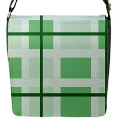 Abstract Green Squares Background Flap Messenger Bag (s)