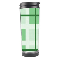 Abstract Green Squares Background Travel Tumbler