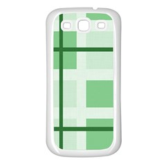 Abstract Green Squares Background Samsung Galaxy S3 Back Case (white)