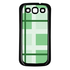 Abstract Green Squares Background Samsung Galaxy S3 Back Case (black)