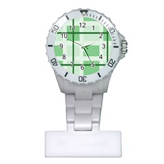 Abstract Green Squares Background Plastic Nurses Watch