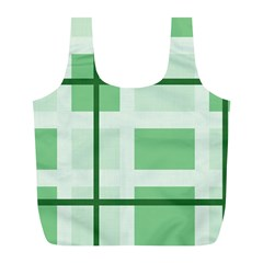Abstract Green Squares Background Full Print Recycle Bags (l)