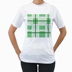 Abstract Green Squares Background Women s T Shirt (white)