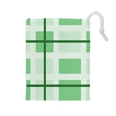 Abstract Green Squares Background Drawstring Pouches (large)