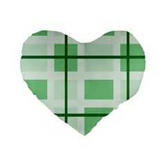 Abstract Green Squares Background Standard 16  Premium Flano Heart Shape Cushions