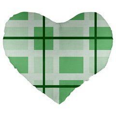 Abstract Green Squares Background Large 19  Premium Flano Heart Shape Cushions