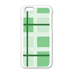 Abstract Green Squares Background Apple Iphone 6/6s White Enamel Case