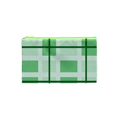 Abstract Green Squares Background Cosmetic Bag (xs)