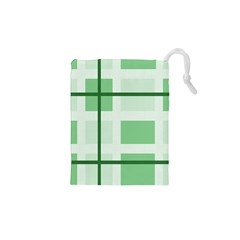 Abstract Green Squares Background Drawstring Pouches (xs)