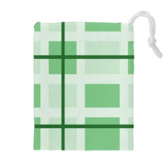 Abstract Green Squares Background Drawstring Pouches (extra Large)