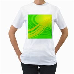 Abstract Green Yellow Background Women s T Shirt (white) (two Sided)