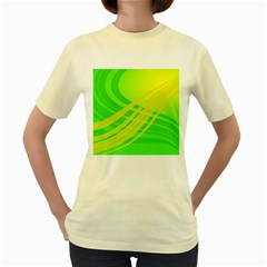 Abstract Green Yellow Background Women s Yellow T Shirt