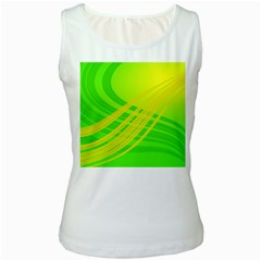 Abstract Green Yellow Background Women s White Tank Top