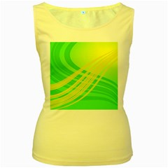 Abstract Green Yellow Background Women s Yellow Tank Top