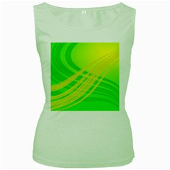 Abstract Green Yellow Background Women s Green Tank Top