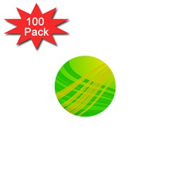 Abstract Green Yellow Background 1  Mini Buttons (100 Pack)