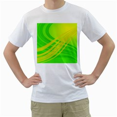 Abstract Green Yellow Background Men s T Shirt (white) (two Sided)