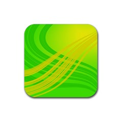 Abstract Green Yellow Background Rubber Coaster (square)