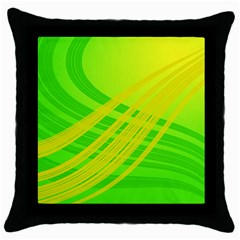 Abstract Green Yellow Background Throw Pillow Case (black)