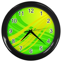 Abstract Green Yellow Background Wall Clocks (black)