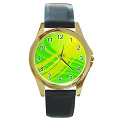 Abstract Green Yellow Background Round Gold Metal Watch
