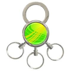 Abstract Green Yellow Background 3 Ring Key Chains