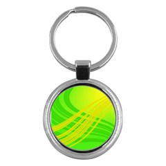 Abstract Green Yellow Background Key Chains (Round)