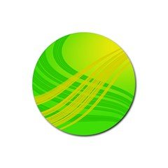 Abstract Green Yellow Background Rubber Coaster (round)