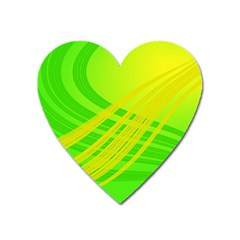 Abstract Green Yellow Background Heart Magnet