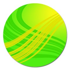 Abstract Green Yellow Background Magnet 5  (Round)