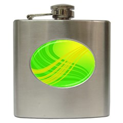 Abstract Green Yellow Background Hip Flask (6 Oz)