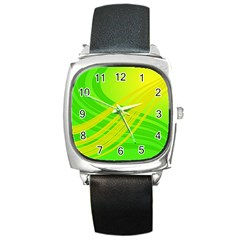Abstract Green Yellow Background Square Metal Watch