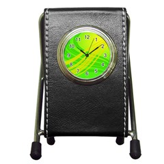 Abstract Green Yellow Background Pen Holder Desk Clocks