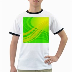 Abstract Green Yellow Background Ringer T Shirts