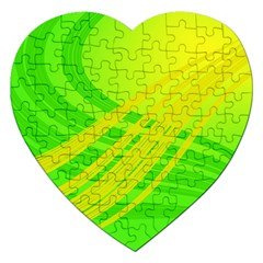 Abstract Green Yellow Background Jigsaw Puzzle (Heart)